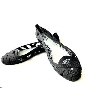 Black Rubber Ribbon Ballet Washable Flats Flexible